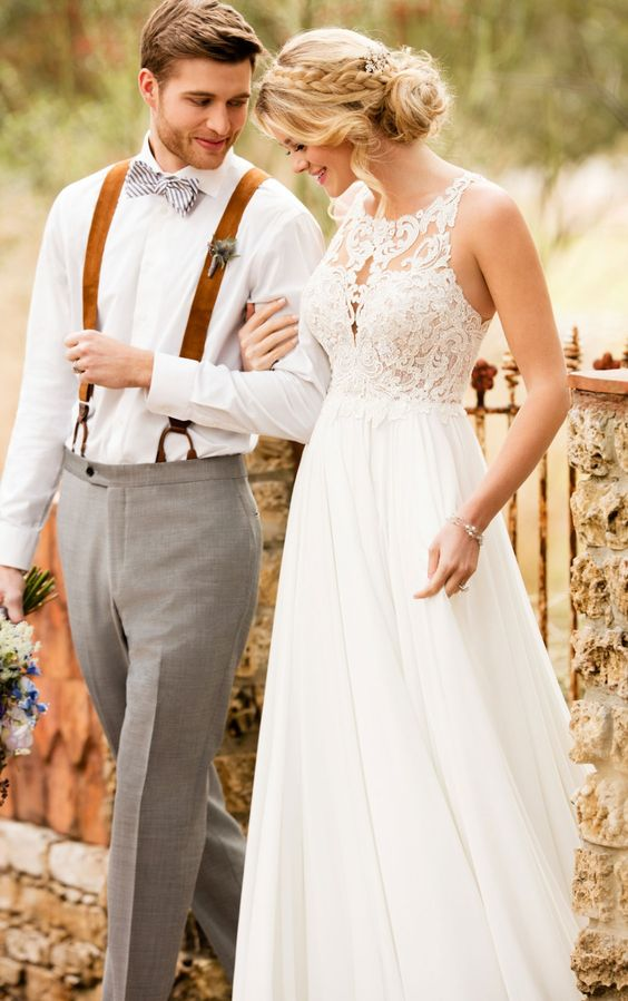 Picture Of A Cute Wedding Dress With Lace Bodice And Plain Flowy Skirt For Relaxed Bride