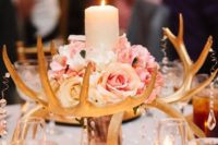 19 a glam gilded antler centerpiece with crystals, pink roses and a candle
