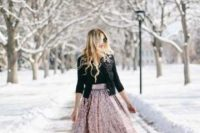 19 a pink sequin midi skirt, a black top, a black crop jacket with embellishments and black shoes