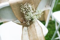 19 burlap to tie the chair and baby's breath for a beautiful touch are perfect for a rustic wedding