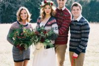 19 traditional Scandinavian sweaters for the couple and a groomsmen and a bridesmaid