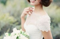 19 wavy short hair with some curls and a volume will fit most of bridal styles