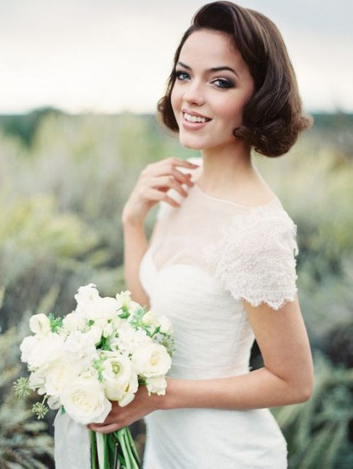 wavy short hair with some curls and a volume will fit most of bridal styles