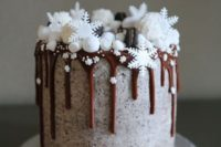 20 a frosted wedding cake with poppy seed, milk chocolate drip, topped with marshmallows, macarons and sugar snowflakes