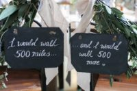 20 chalkboard wedding signs with fresh greenery and blush ribbons – write whatever you want on them