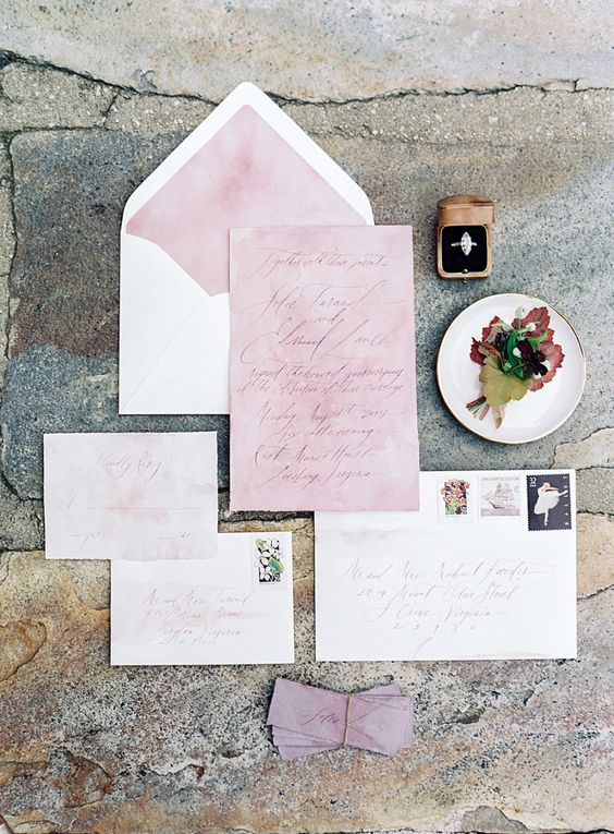 sweet white and pink wedding stationery suite with watercolor and calligraphy, watercolro is a hot wedding trend