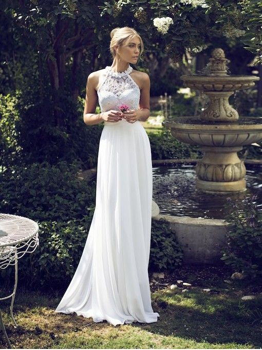 a halter neckline wedding dress with a lace bodice and a ruffle collar, a plain skirt