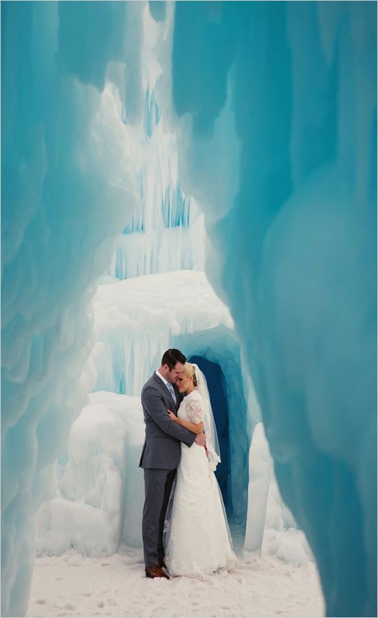 getting married in an ice castle is another cool idea for a winter wedding, it will be very memorable