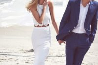 22 a boho lace bridal separate with a halter neckline crop top and a cool maxi skirt for a beach boho bride