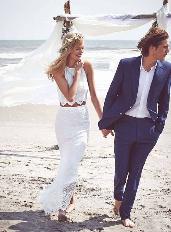 a boho lace bridal separate with a halter neckline crop top and a cool maxi skirt for a beach boho bride