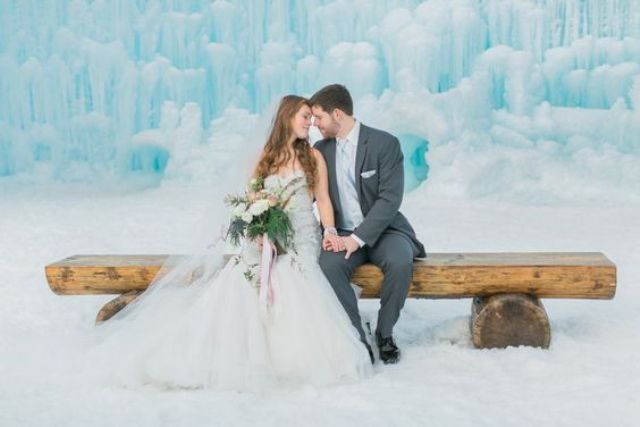 go to an ice castle or ice cave for the ceremony to get a gorgeous frozen space