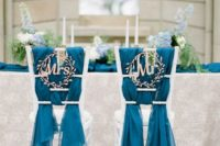 24 cute botanical-inspired wedding signs, blue fabric covers for chic chair decor