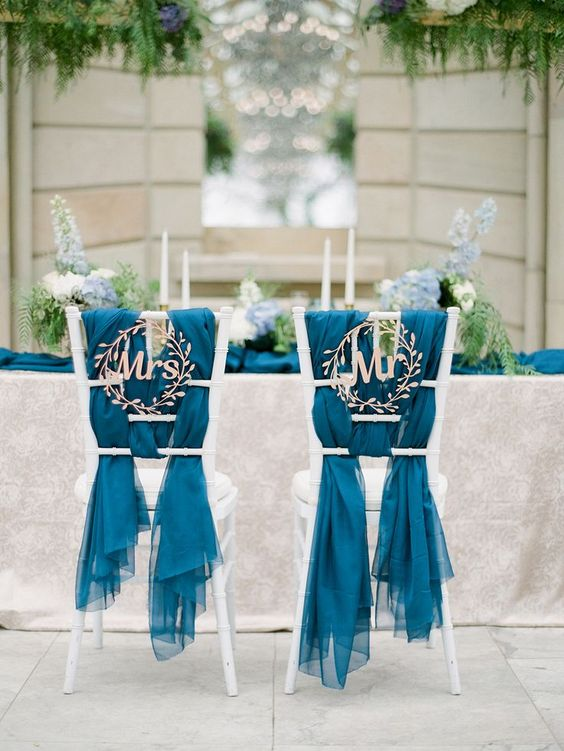 cute botanical-inspired wedding signs, blue fabric covers for chic chair decor