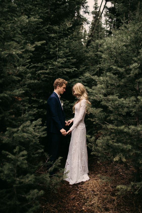 hide in the trees for just some time after the ceremony like this couple to feel the moment