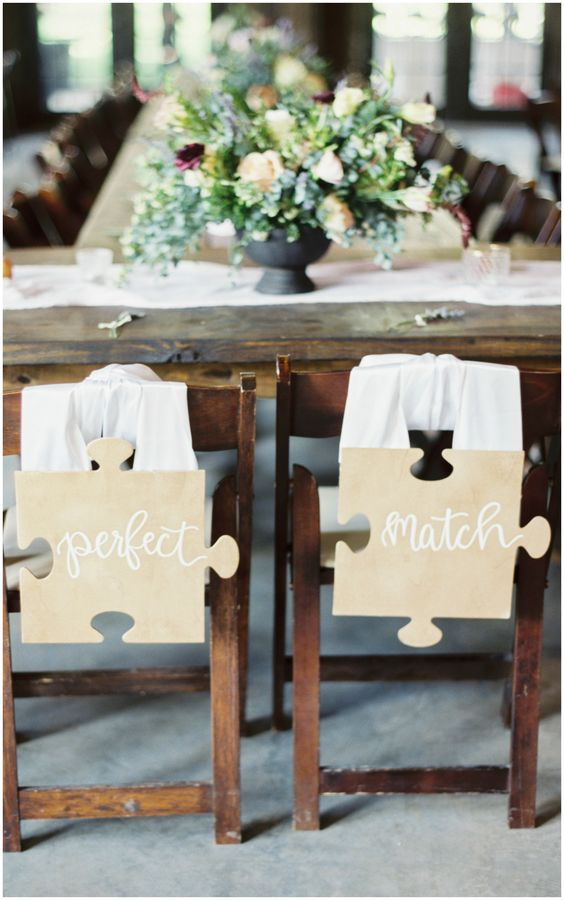 puzzle piece chair signs are great for those who love something whimsy