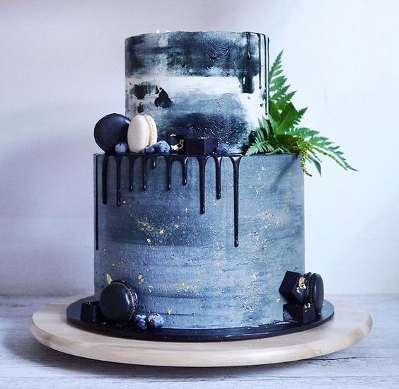 Picture Of A Watercolor Blue Wedding Cake Looks Dramatic
