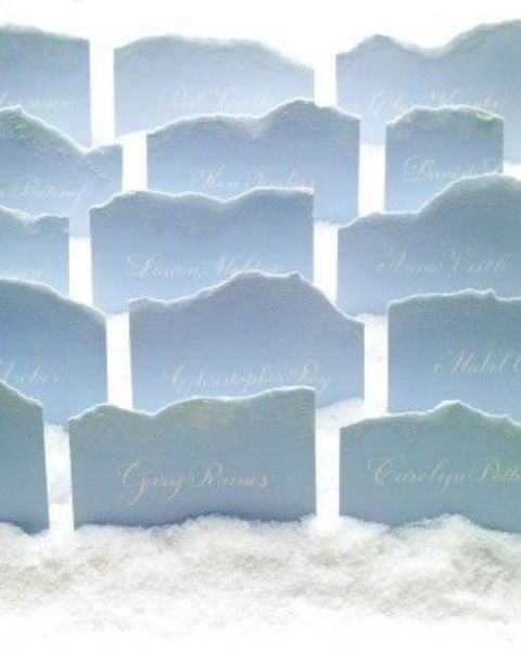 icy blue raw edge escort cards seems to be made of snow