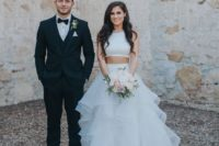 27 a trendy bridal separate with a halter neckline top and a full ruffled skirt with a small train