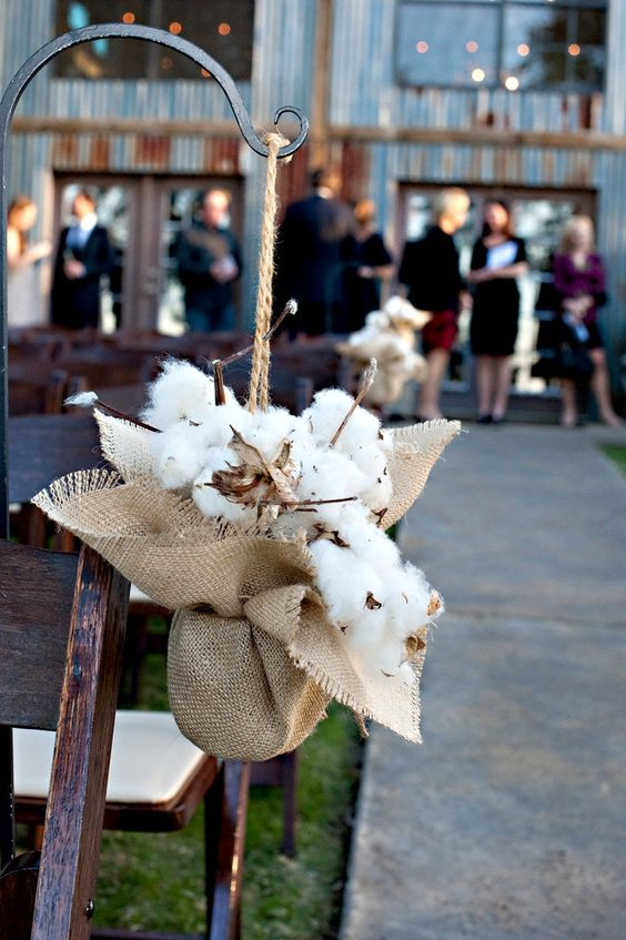 wedding aisle chair decor with burlap and cotton looks comfy and rustic