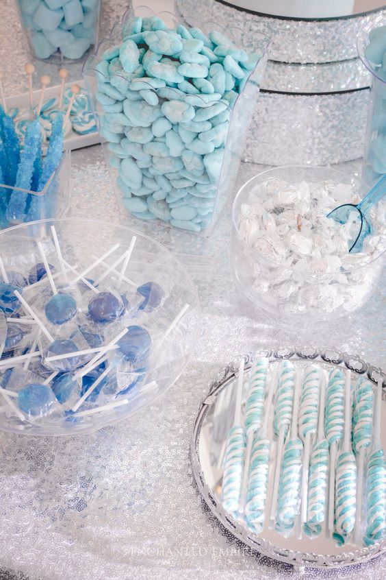 a dessert table with candies in tiffany blue, silver and blue for a winter wedding