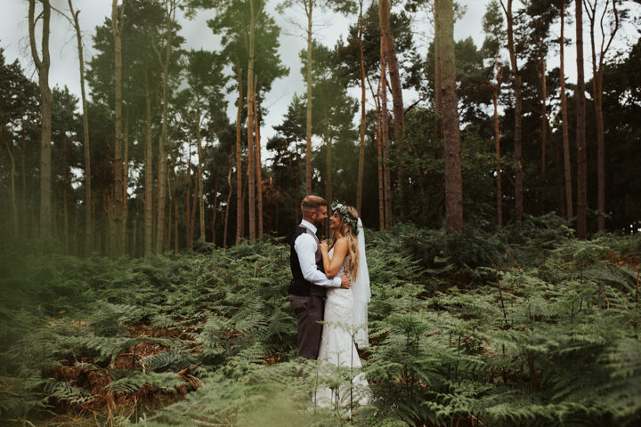 This boho wedding took place in the woods, in the summer, and the couple incorporated many boho elements
