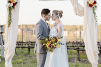 01 This vineyard wedding shoot was inspired by vintage vibes and bold fall colors