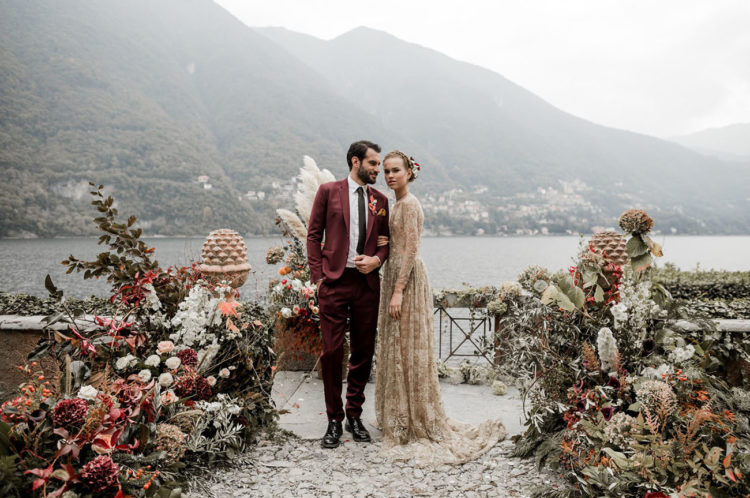 Moody Lake Como Wedding Shoot With A Gold Dress
