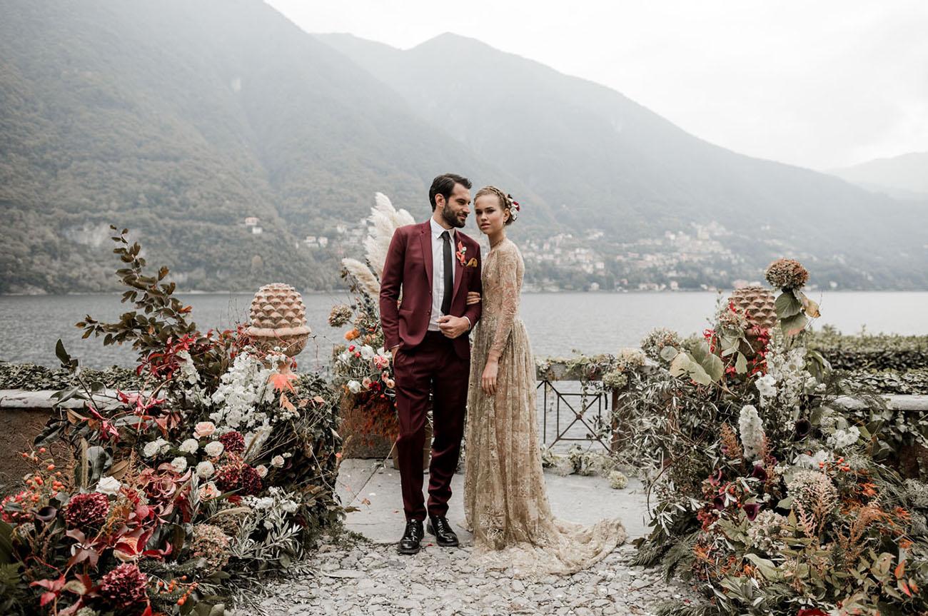 This wedding shoot took place at Lake Como and had moody vibes