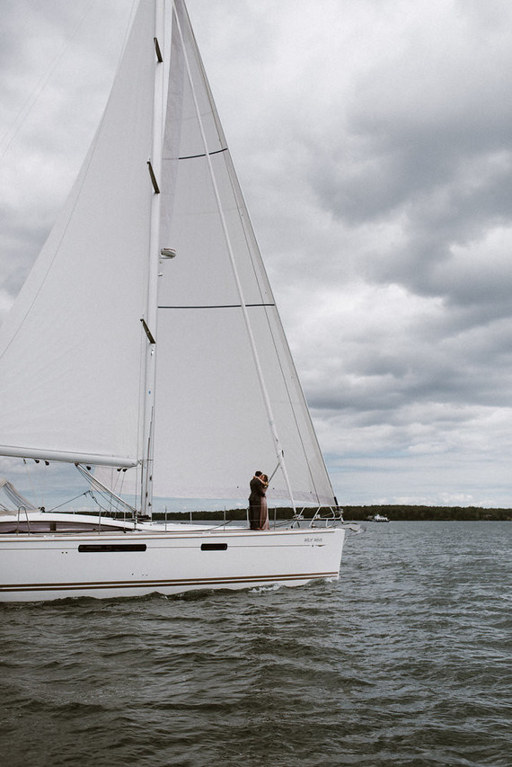 A chic sailboat took the couple from Wisconsin to an island
