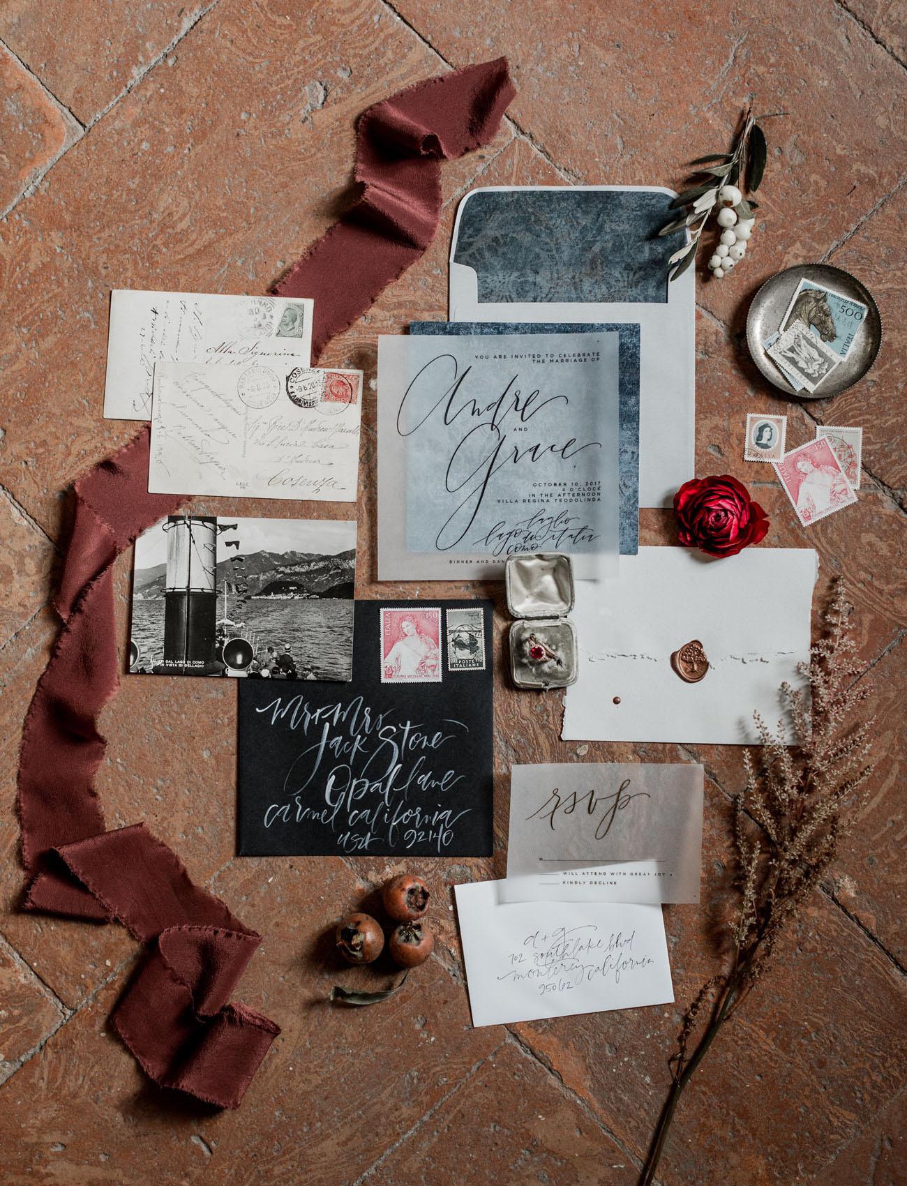 moody wedding stationary