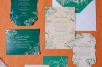 02 The wedidng stationery was done in emerald and gold, with various botanical prints