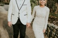 02 a high neckline sheath wedding dress with long sleeves, textural lace and beading