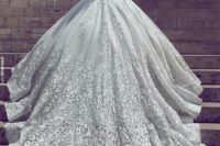 02 a stunning off the shoulder lace ballgown with an open back and a large and long train