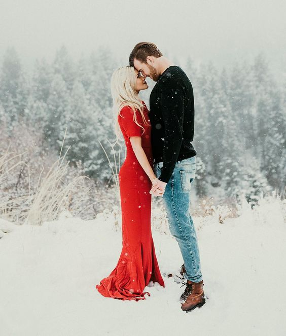 if your space is snowy, go outside to enjoy the amazing shoot and a romantic ambience