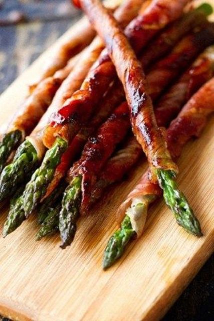 prosciutto wrapped asparagus is great for an appetizer and is easy to make