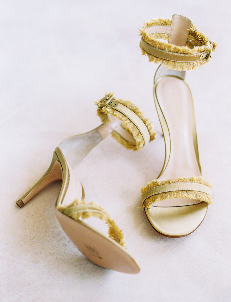 Mustard fringe wedding shoes with ankle straps