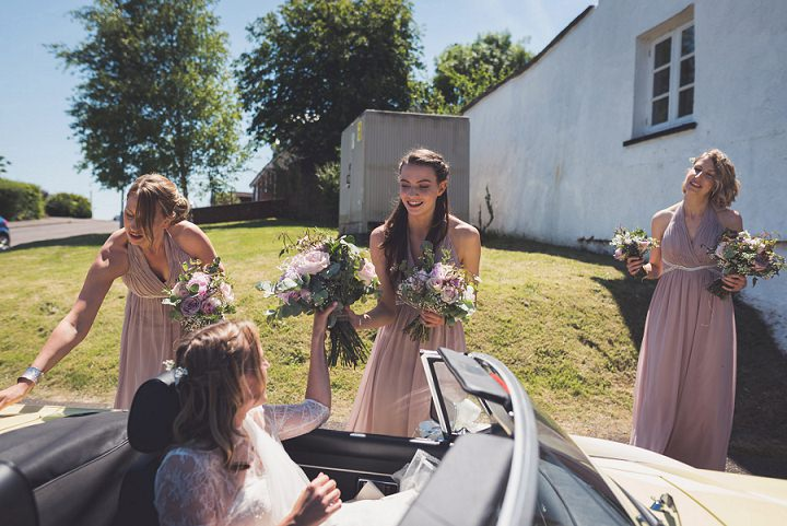 The bridesmaids were wearing lavender maxi dresses from ASOS