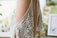 03 a beaded embroidered cold shoulder sleeve looks feminine and stunning