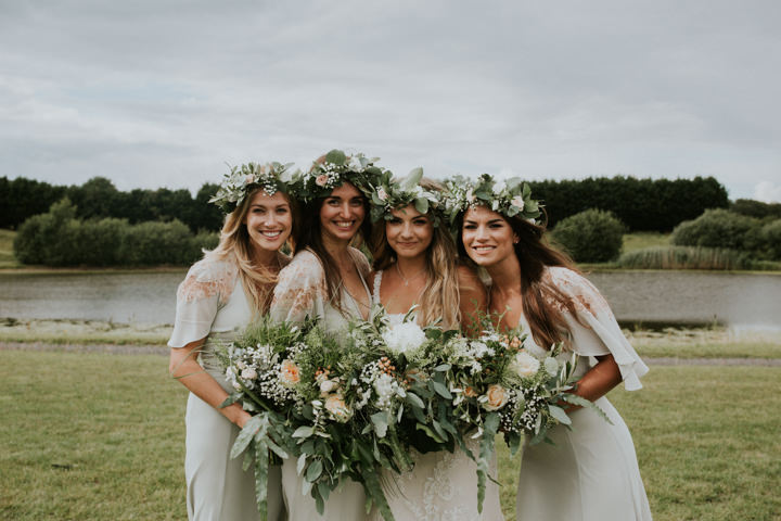 The bridesmaids were wearign floral crowns and neutral dresses with floral prints from ASOS