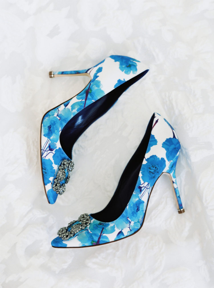 The wedding shoes were with a whimsy blue floral print on