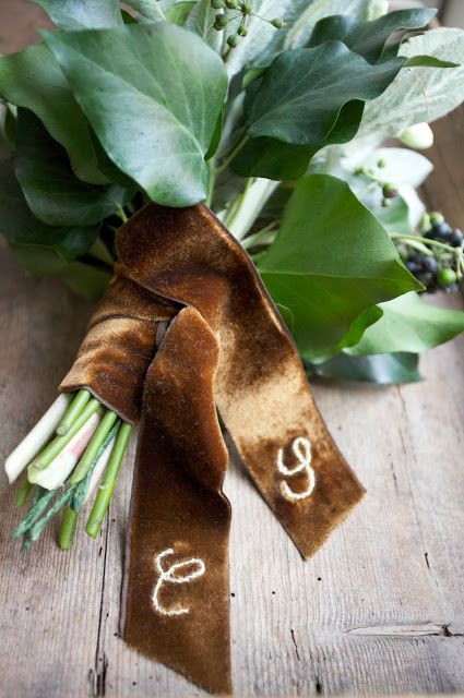 brown velvet ribbon with monograms can accessorize a winter bouquet