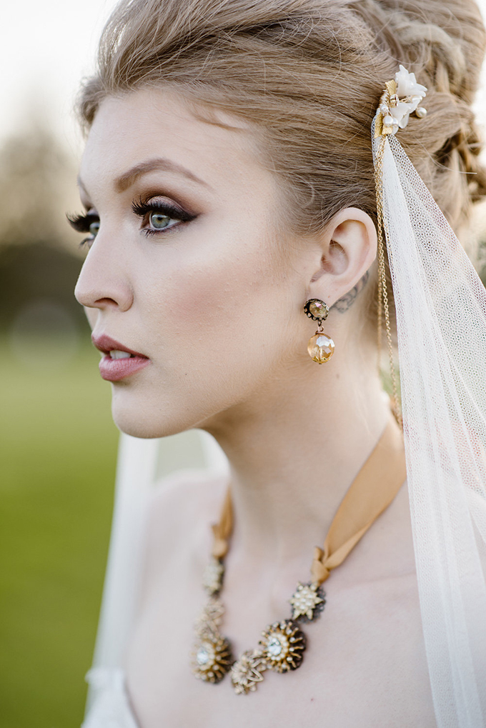 I love the bridal makeup with amazing smokeys and her statement accessories