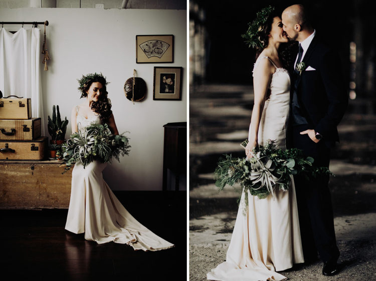 The bridal bouquet was a lush one of foliage and air plants