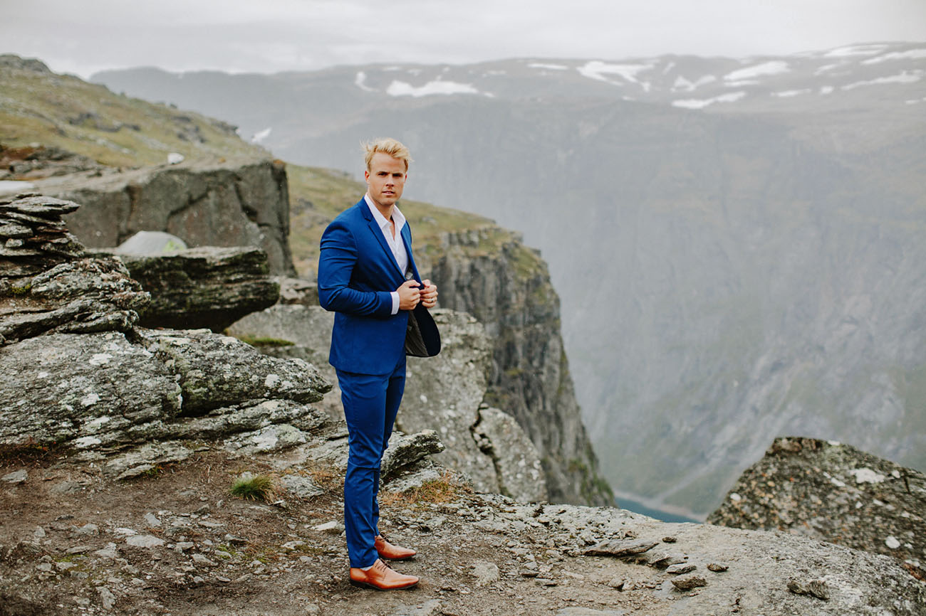 The groom was wearing an electric blue suit and amber shoes