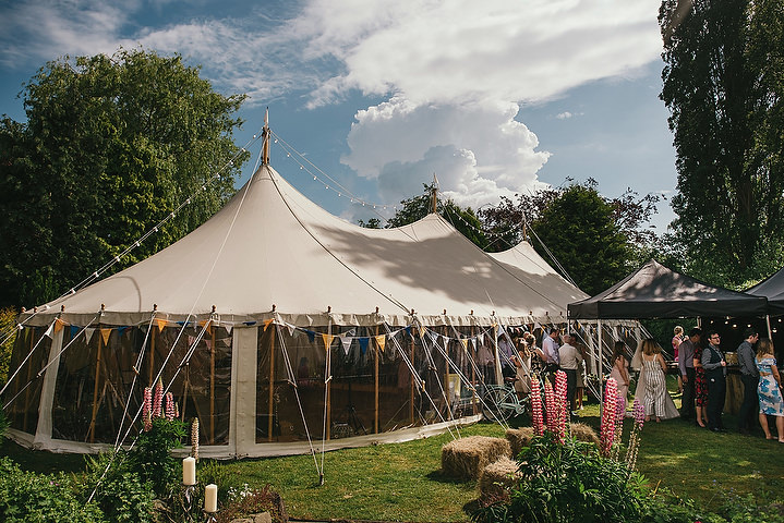 The wedding was a colorful festival one, with teepees and marquees