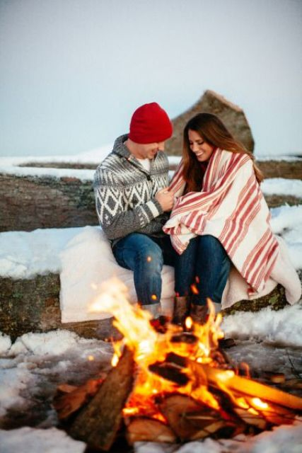 make a fire if possible and snuggle up around the fire to feel warm and feel the romance