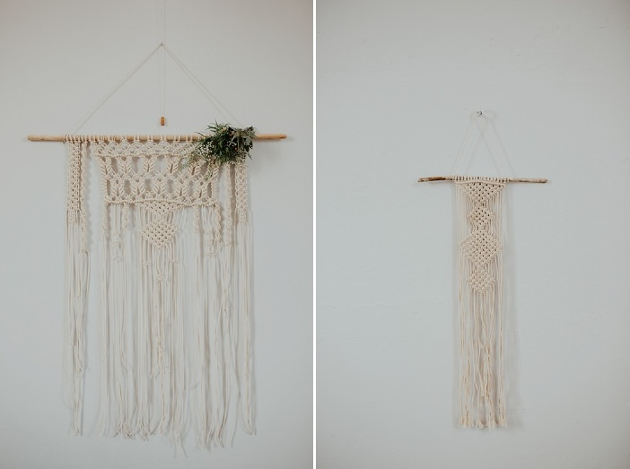 She made many macrame hangings with greenery for wedding decor