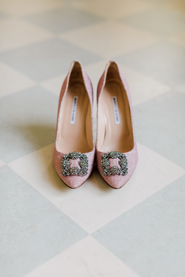 Sparkly pink bridal shoes by Manolo Blahnik