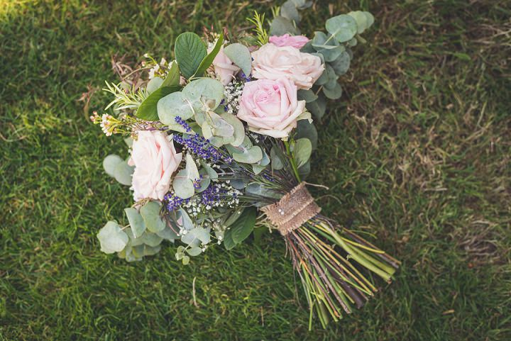 The bridal bouquet was pretty and cute, with pink roses and lavender