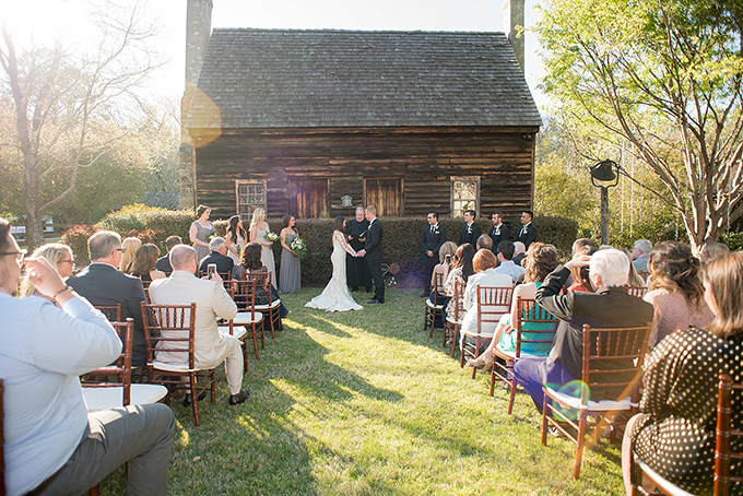 The ceremony took place outdoors, in the garden of a historical venue